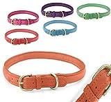 Pear - Tannery - Fashion Line: Hundehalsband Aus Weichem Vollrindleder, Handgerollt, XXS 24-31cm, Orange