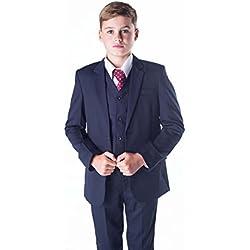 Romario - Traje azul marino para niños, traje de niños para bodas, traje para paje de boda, para baile de fin de curso, tallas de 3–6 meses a 14 años azul azul marino