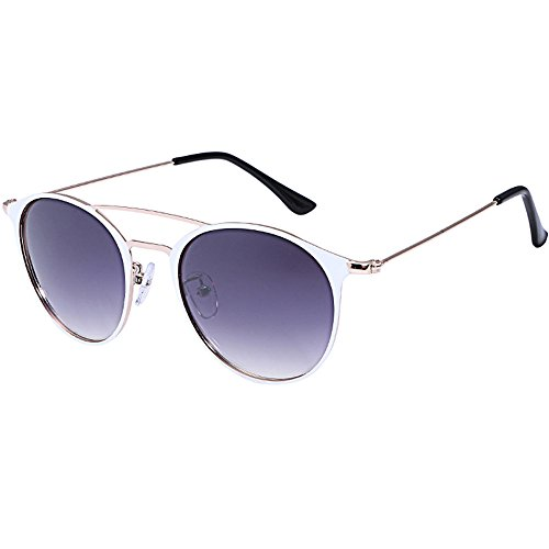 Damen Herren Sonnenbrillen Retro Aviator Metall Rahmen UV400 Brillen Sommer Strand Ray Ban (Weiß) (Oakley Aviator Damen Sonnenbrille)
