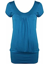 New Womens Short Cap Sleeve Gathered Ruched T-Shirt Ladies Plain Casual Round Neck Stretch Fit Top
