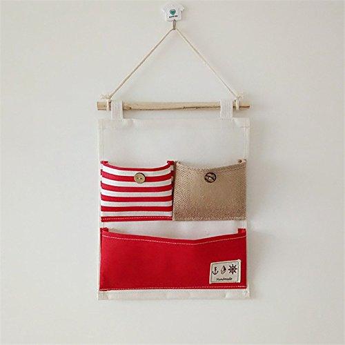 Preisvergleich Produktbild Kreativität Multifunktional Baumwolle/Wandbild auf Sackleinwand Tür Closet Streifen Drei Gitter hängende Aufbewahrung Staubbeutel