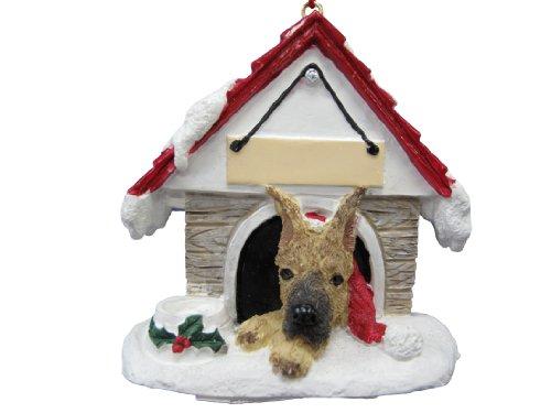 Dogge Deutsche Kostüm Hunde - E&S Pets Deutsche Dogge, Fawn Ornament EIN tolles Geschenk für deutsche Dogge, Fawn Eigentümer handbemalt und einfach personalisierten Doghouse Ornament mit magnetischer Rückseite