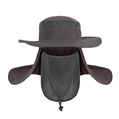 Saingace(TM) Herren Outdoor Sonnenhut Männer UV Schutz, Fischerhut Unisex Faltbar Atmungsaktiv, Wanderhut Nackenschutz (Beanie Mit Propeller)