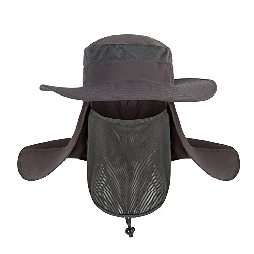 Saingace(TM) Herren Outdoor Sonnenhut Männer UV Schutz, Fischerhut Unisex Faltbar Atmungsaktiv, Wanderhut Nackenschutz