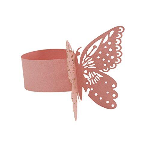 Homyl 50 x Schmetterling Papier Serviettenring für Hochzeit, Taufe, Kommunion, Graduierung, Geburtstag, Weihnachten, bankett oder Verschiedene Anlässe, Farben zum Auswahlen - Rosa, Schmetterling