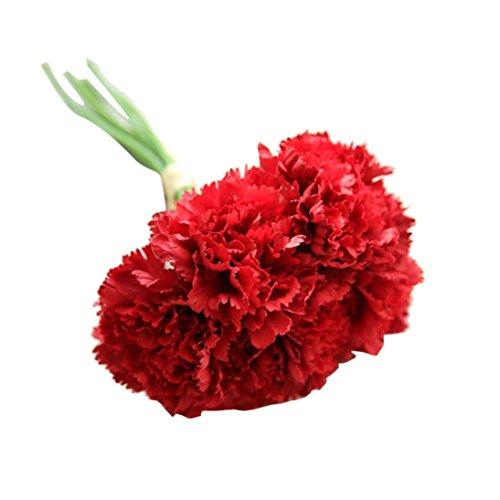 Elecenty Künstliche Nelke Blumen Unechte Blumen, 1 Blumenstrauß 6 Köpfe Deko Bouquet Gefälschte Kunstseide Blumen Kunstpflanze Kunstblumen Zum Hochzeitsblumenstrauß Party