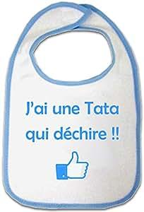 Yonacrea - Bavoir Bleu Bébé - J'ai une Tata qui déchire !!