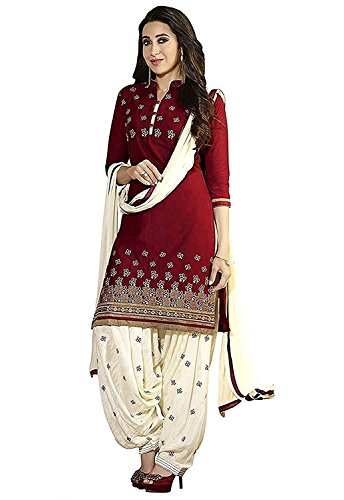 Madhav Fashion Women\'s Cotton Salwar Suit (Dress Material _Blue_Free Size, Semi-Stitched )