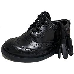 Thistle - Zapatos Oxford Brogue de cuero perforado de bebé para kilt escocés - Estilo Ghillie - EU25