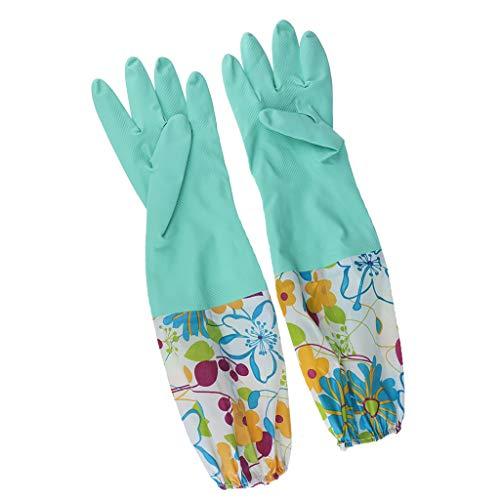 Baoblaze Haushalts-Handschuhe Gummihandschuhe gefüttert Lataxhandscuheh Küchenhandschuhe Spülhandschuhe Rubber Gloves - Grün