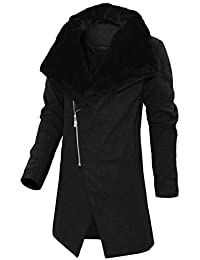 HRYfashion da Uomo alla Moda Cappotto di Lana con Collo di Pelliccia  Slimfit Riso Chiusura 4ae650c78af