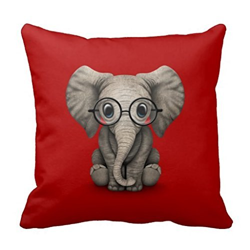 Decorative Square Pillow Case Cute Baby Elephant with Reading Glasses Red Pillow Cover 18X18 Inches