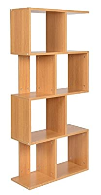ts-ideen Bookshelf rack Scaffold shelf 130x60 cm in oak colour with 8 compartments - low-cost UK light shop.
