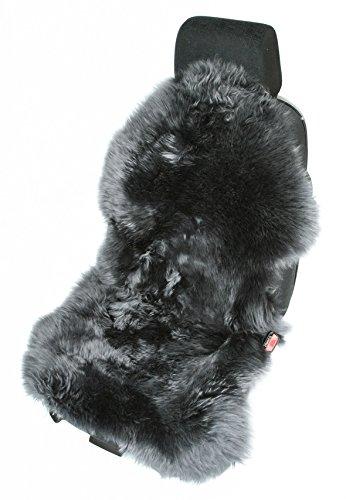 Leibersperger Felle Sitzauflage aus Echtem Lammfell Naturform mit Haltegummi in Farbe (Anthrazit) für Lederautositze