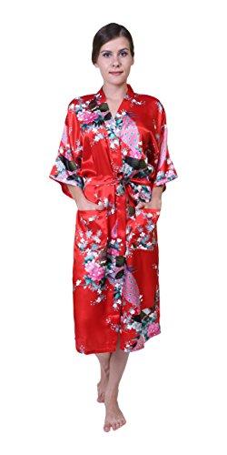 Keynis Damen Morgenmantel Kimono Robe Bademantel Nachtwäsche Lange Stil (XL, Rot) (Roben Shopping-kimono)
