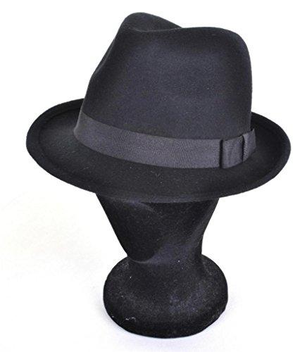Stil fühlte Trilby Hut neue 100% Wolle Gangster S/M/L, schwarz, M (57 (Gangster Stil Mädchen)