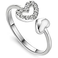 westeng hembra abierto anillo ajustable hombre anillo de diamante joyería elegante forma de corazón plata