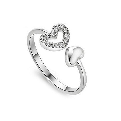 BIGBOBA Hohle Herz mit verstellbarer Ring, Modeschmuck, Diamant-Ring, Schmuck-Zubehör für Frauen Mädchen