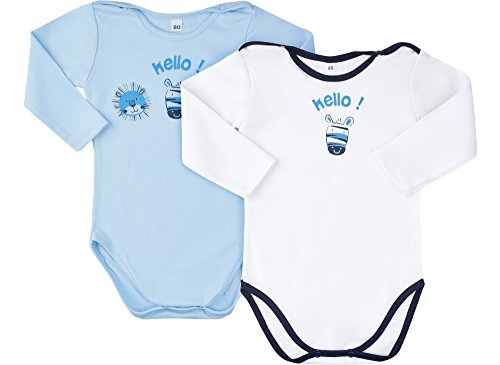 Be Mammy Jungen 2er Pack Body 2101 (Weiß Zebra + Blau Zoo, 74) 2 Zebra-haut