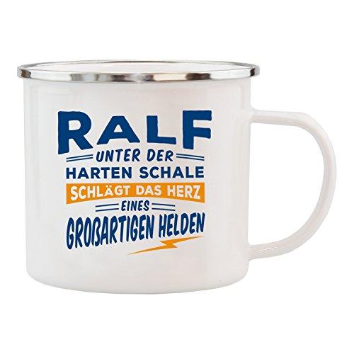 History & Heraldry Echter Kerl Emaille Becher, Ralf, Mehrfarbig