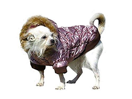 Ikumaal Dicker Steppmantel in rosa mit Fell-Kaputze - Winterjacke Hund Bekleidung für Hunde Hundebekleidung und Hundemantel günstig M57 Gr. S