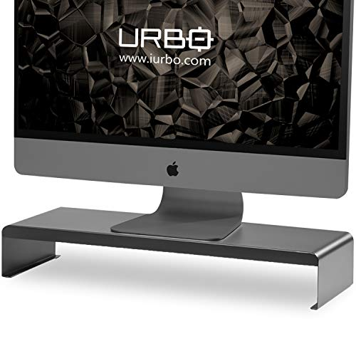 Urbo Titano Monitor Stand Lifts Monitors, Laptops, Printers and Increases Storage Space to Keep Desks Organized in Offices and Homes