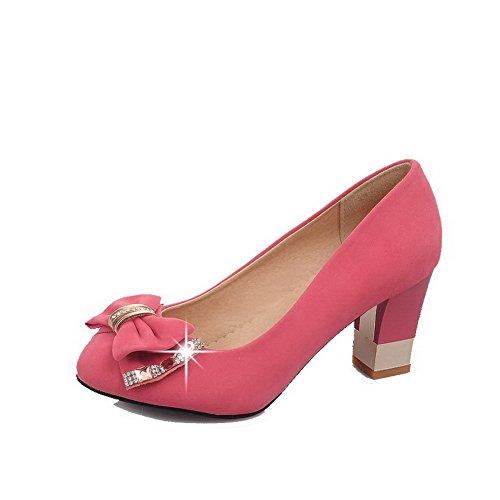 VogueZone009 Damen Mattglasbirne Ziehen Auf Rund Zehe Hoher Absatz Rein Pumps Schuhe Pink
