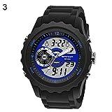 Armbanduhren Mode-Accessoires, Digital Analog Dual Display Alarm Leuchtdatum Silikonband Armbanduhr - Schwarz + Blau