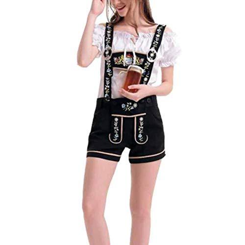 CHIYEEE Erwachsene Oktoberfest Kostüm Damen Bayerisches Bierfest Kostüm, Kariertes Hemd, Hose Set - Karierte Hose Kostüm