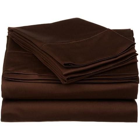 Impressions 530 fili, Lenzuolo in cotone egiziano, cioccolato, California King, 4 pezzi