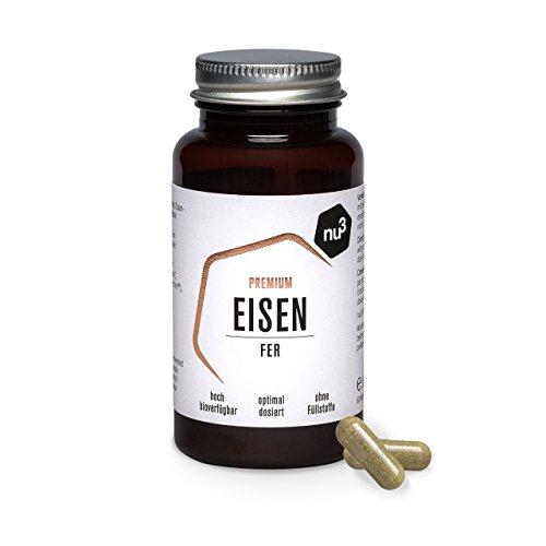 nu3 Premium Eisen – 60 Kapseln – 14 mg Eisen & 150 mg Vitamin C pro Stück – hohe Bioverfügbarkeit – mit Curryblattpulver – vegane Kapsel – sehr rein und ohne Füllstoffe – gluten- & laktosefrei