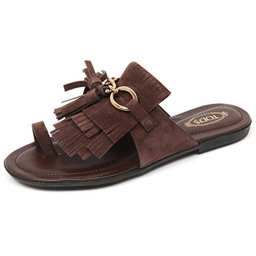 C9098 infradito donna TOD'S scarpa sandalo frangia marrone shoe woman Marrone