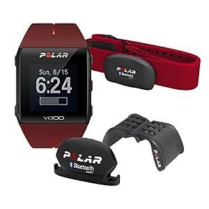 Polar V800 Javier Gomez Noya - Reloj deportivo GPS, sensor de frecuencia cardíaca H7 HR, soporte y sensor de cadencia, color rojo