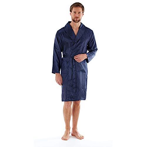 Harvey James Mens Satin Kimono Wrap MN200 Navy XL
