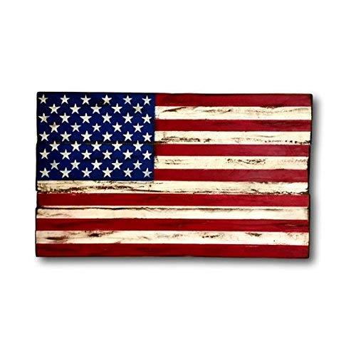 Monsety American Flag Rustikale amerikanische Flagge Militär Geschenk Palettenflagge Amerika-Dekor Patriotische Deko Flagge Schild Schlafzimmer Schild mit Sprüchen Home Decor Plaque