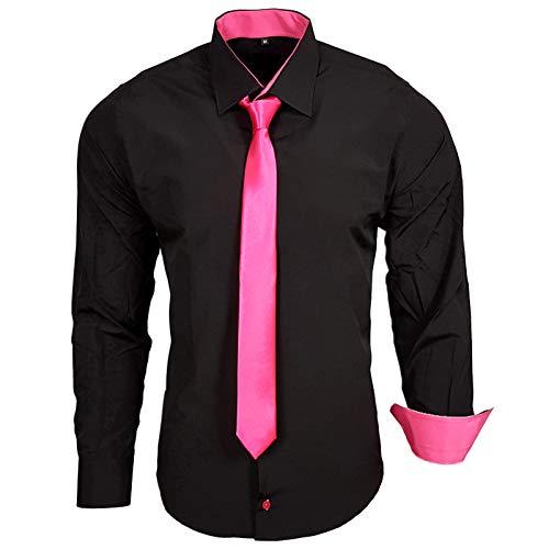 Rusty Neal 44-KR Herren Kontrast Hemd Business Hemden mit Krawatte Hochzeit Freizeit Fit, Größe:2XL, Farbe:Schwarz/Pink Business-krawatte
