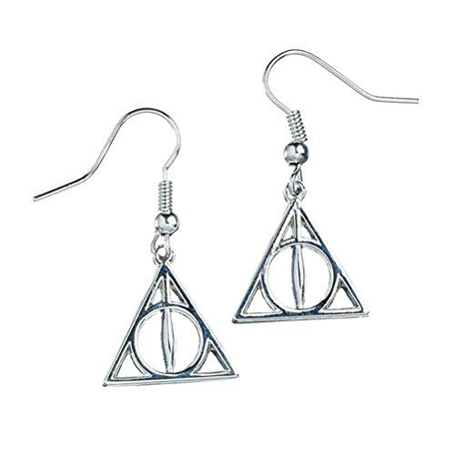 Offizielle Harry Potter Deathly Hallows Symbol Tropfen Silber-Ohrringe
