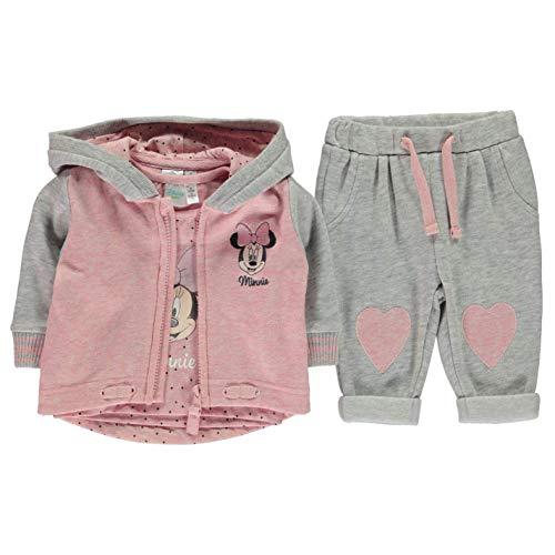 Character 3 Teile Jogger Trainingsanzug Set Kleinkinder Baby Oberteil Hose Set - Grau - Minnie Maus, 9-12 Monate