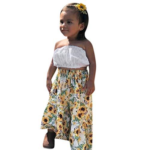 Kleider - Baby Mädchen solide Boob Tube Tops + Sunflower Print Röcke Outfitss ()