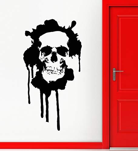 JXYY Wandaufkleber Vinyl Aufkleber Schädel Tod Moderne Grunge Ihr Raumdekor Halloween Festival Wandkunst Aufkleber Vinyl Tapete Wandbild 42x80 cm