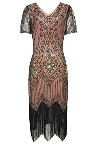 ArtiDeco 1920s Kleid Damen Flapper Kleid mit Kurzem Ärmel Gatsby Motto Party Damen Kostüm Kleid (Koralle Gold, S (Fits 76-82 cm Waist)) (80 S Halloween-kostüm)