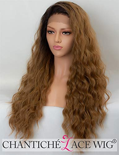 Lace Front Wigs for Women Long Ombre Synthetic Wig UK with Dark Roots 22 Inches Heat Resistant ()