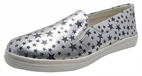 Sammy Star Printed Damen Loafer Schuhe Komfort Slip On Flats Schuhe Silber