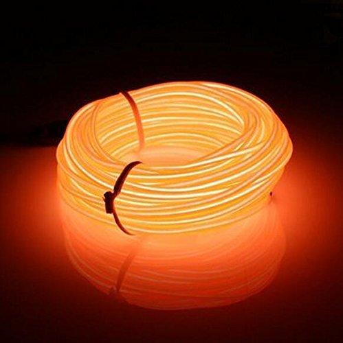 Flexibel 3M 9 FT Neon Beleuchtung Lichtschlauch Leuchtschnur EL Kabel Wire mit 3 Modis für Disco Party Kinder Halloween Kostüm Kleidung Weihnachtsfeiern(Orange) (Fenster Kostüm)