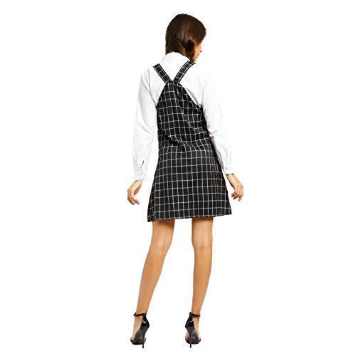 Damen Maedchen Kleid Latzkleid Traegerkleid Kurzes Minikleid Latzrock Latz Rock Kleid Minirock Hippierock Traegern M L Schwarz-Kariert