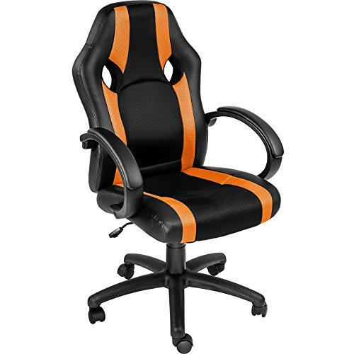 TecTake Bürostuhl Racing Chefsessel Sportsitz mit gepolsterten Armlehnen - Diverse Farben - (orange | nr. 402157)