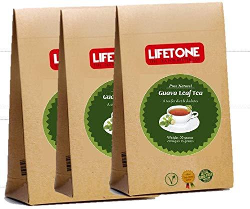 60 Teebeutel aus Guavenblättern   100% Natur   Köstlicher Kräutertee   Diabetischer Tee   Packung mit 3 Stück