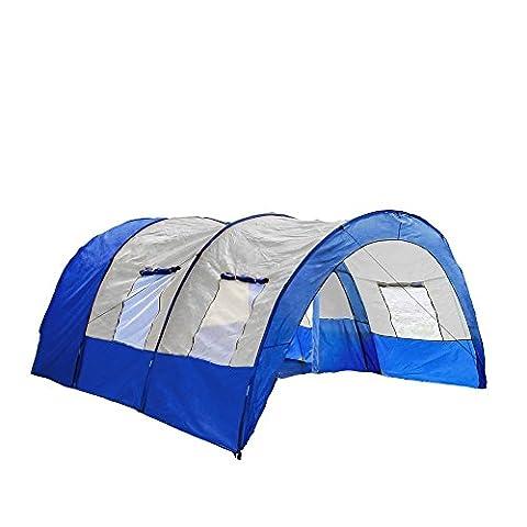 TecTake Tunnelzelt Campingzelt Familienzelt Gruppenzelt Camping Zelte | 4 - 6 Personen – diverse Farben - (Hellblau | Nr. 401687)