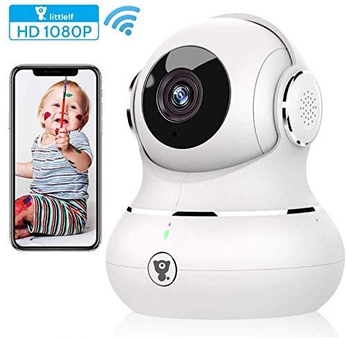 IP-Kamera Full HD 1080P Littlelf, Monitor 350° horizontal und 105° vertikal, Steuerung per App, 3D Panorama-Kamera, Bewegungserkennung, Fernüberwachung für Babys, Tiere, Haus Blanche