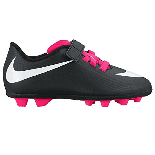 Nike Junior Bravata (V) (FG-R) Kids Firm-Ground Soccer Cleats (10 Toddler M, Black/White/Pink)